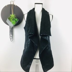 Faux Leather/Fur Drape Front Vest